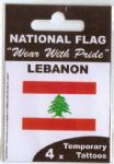 Lebanon Country Flag Tattoos.